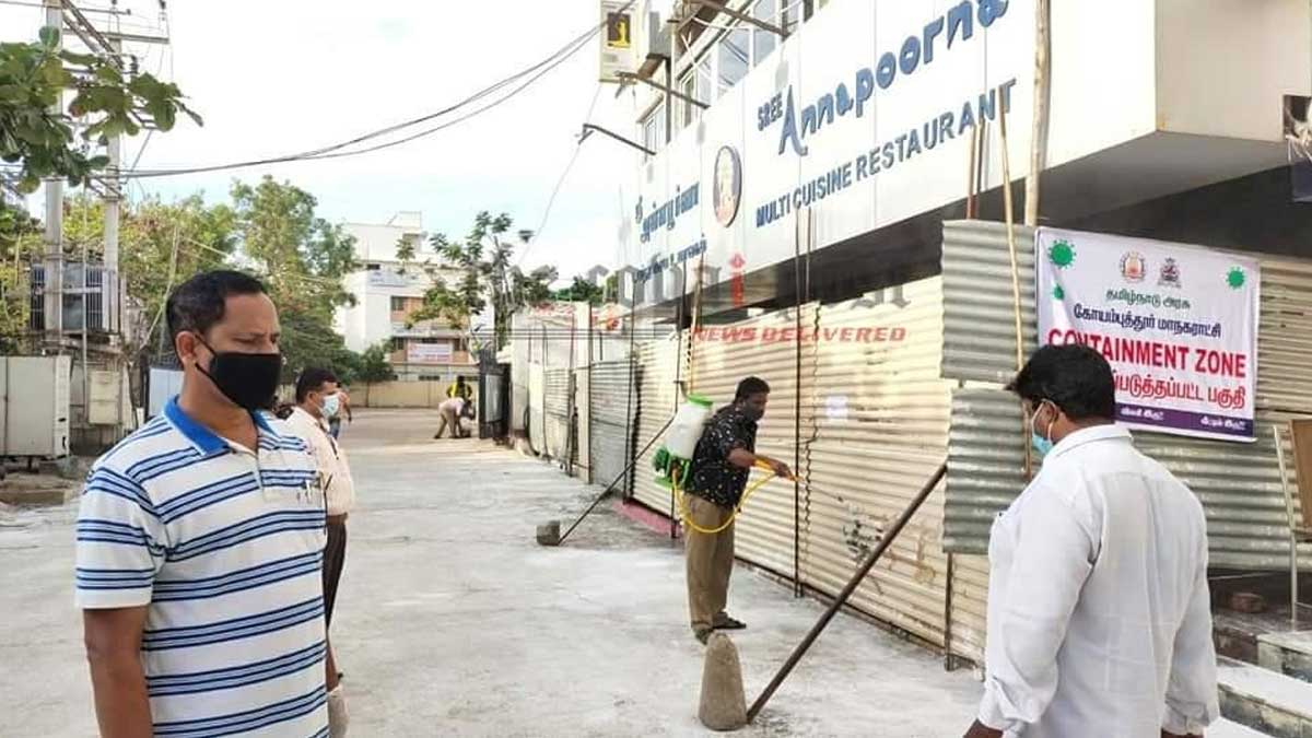 Coimbatore Anna Poorna became containment zone today; head chef tested positive