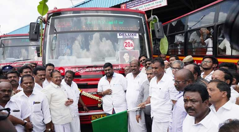 Community Valaikappu support and new city buses by Minister Velumani in Coimbatore