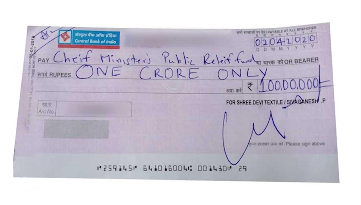 Coimbatore Shree Devi Textiles Donates Rs. 1 Crore to TN Government to fight CoVid-19