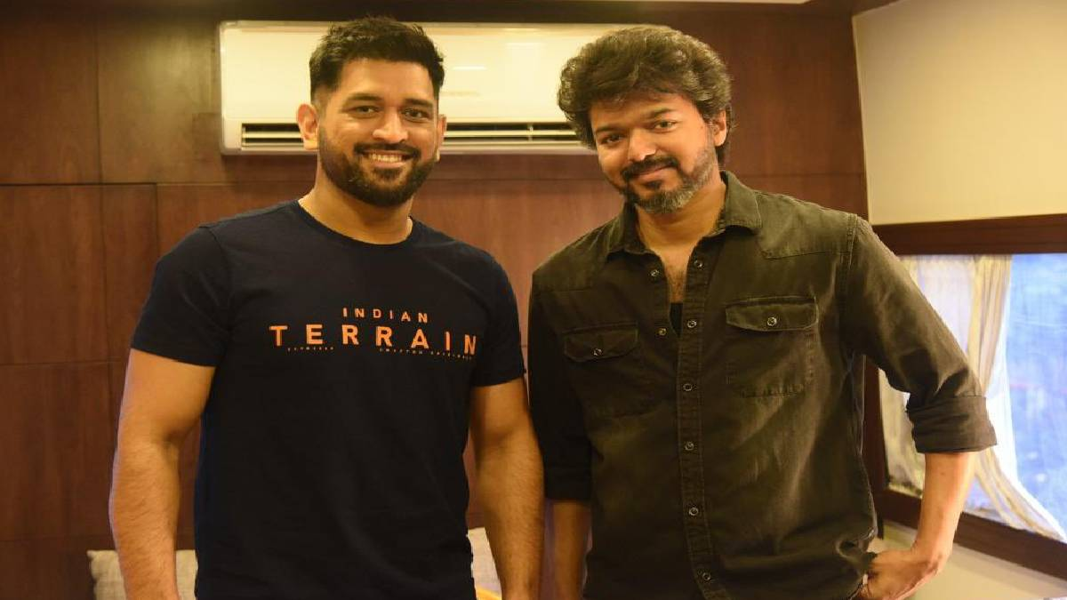 Cricketer MS Dhoni Meets Actor Vijay On Beast Movie Set Today