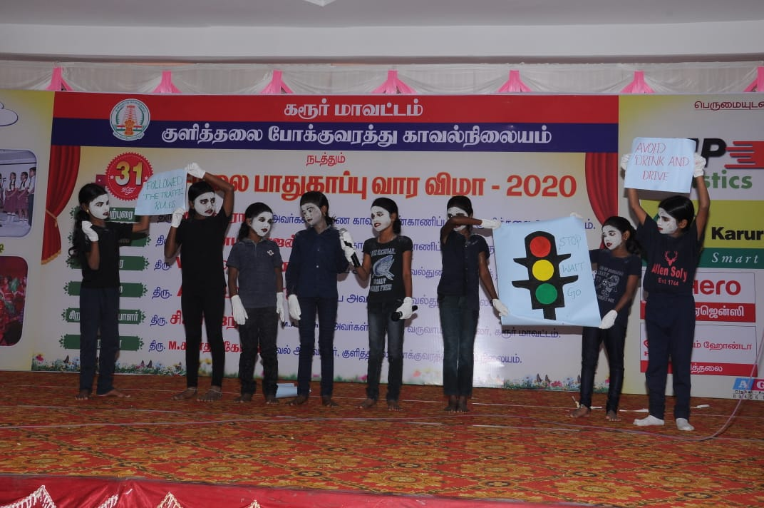 Karur Police Department Conducts the 31st Road Safety Week Awareness Program