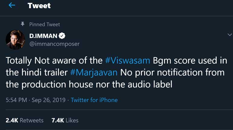 Marjaavaan Bollywood movie copies Viswasam BGM - Imman disappointed comments in Social Media