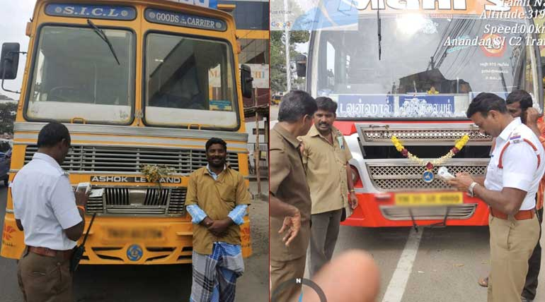 Coimbatore City Traffic Police in Action of Removing Pressure Horn