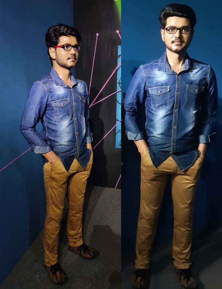 Wax Statue of Actor Vijay at the Mayapuri Wax Museum in Kanyakumari