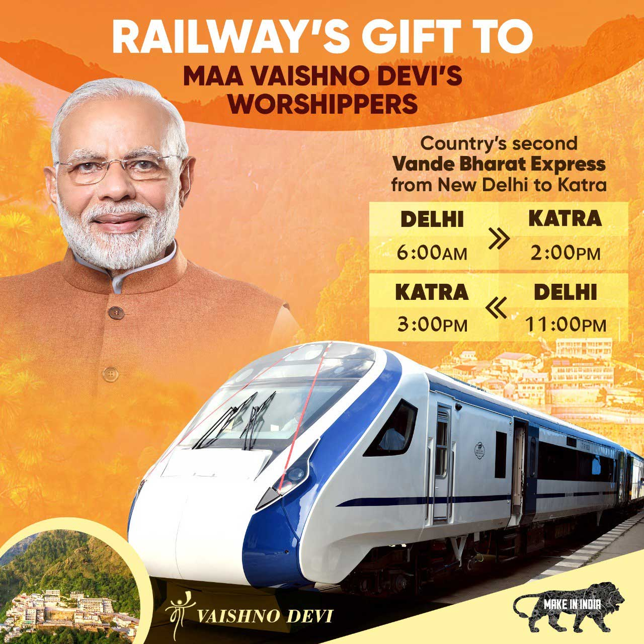 Vande Bharat Express realizes Gandhiji's vision of Swadeshi and fillips Narendra Modi's Make in India