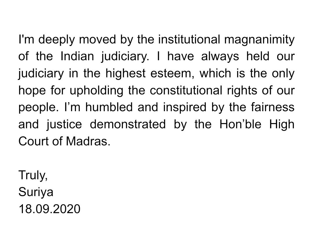 Chennai High Court Appreciate Suriya Social Services and No Contempt