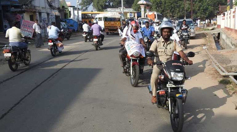 Helmet and Kavalan SOS mobile App Awareness Rally Conducted in Coimbatore