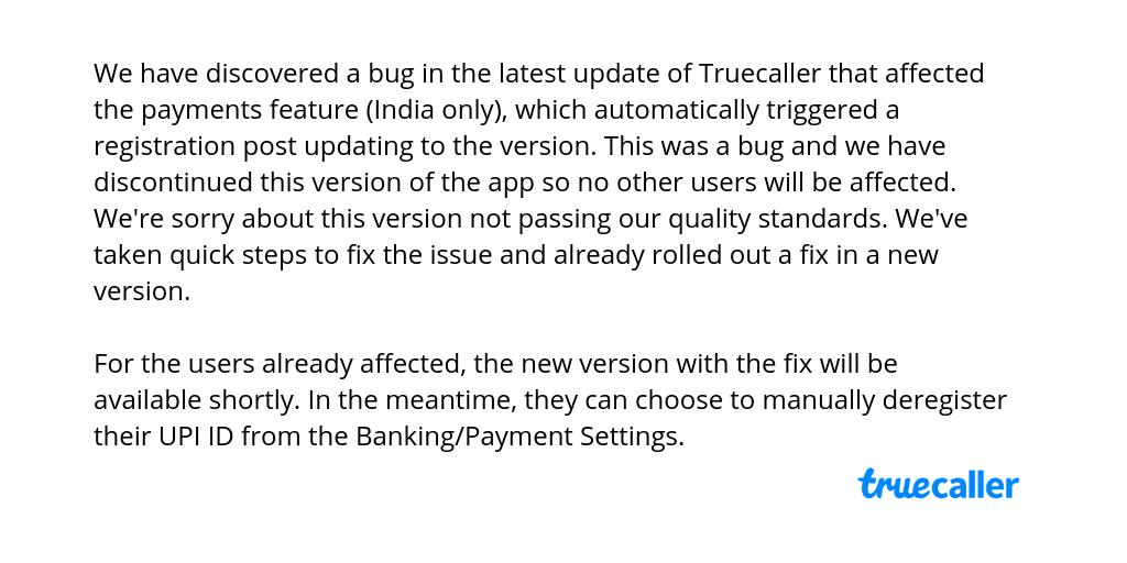 TrueCaller App Unsafe Bug Tries Self Activation of ICICI Bank UPI payments