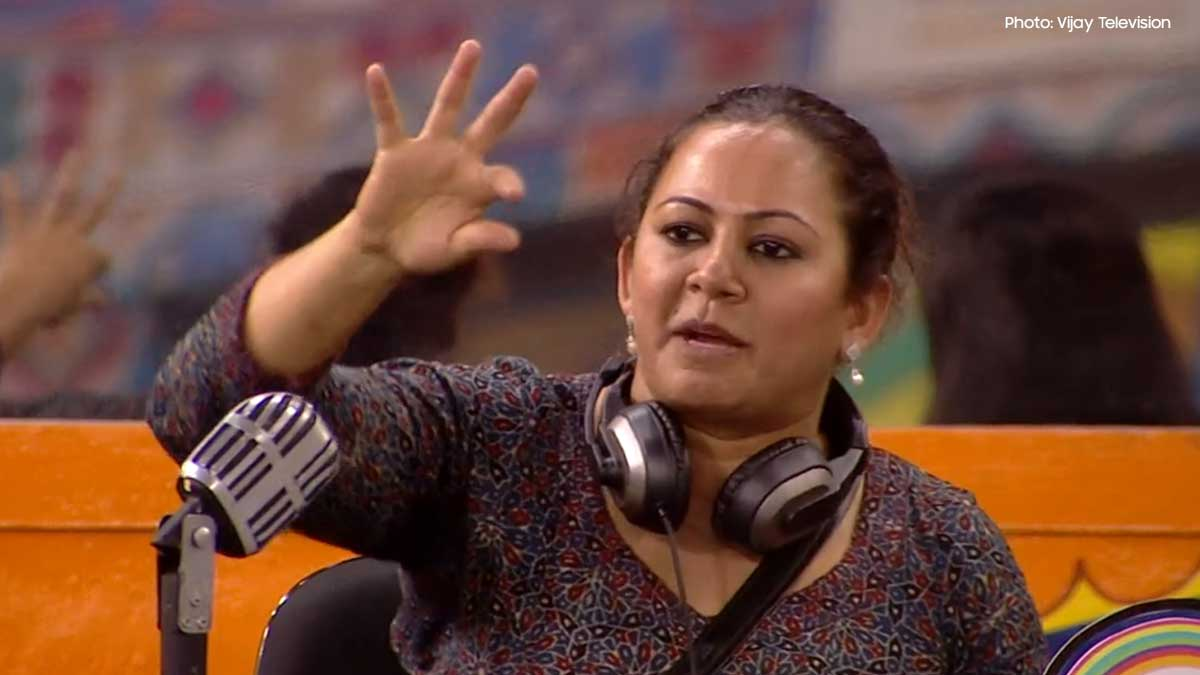 Samyuktha reactions for Aari as the Best Performer of the week Bigg Boss House