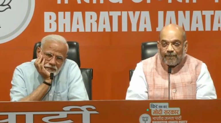Narendra Modi first press Conference with Amit Shah