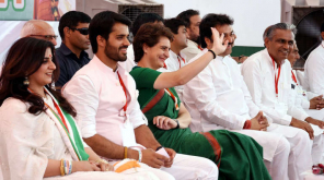 Bhavya Bishnoi in Hisar Congress Meeting with Priyanka Gandhi