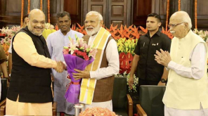 National President of Bharatiya Janata Party AmitShah, Narendra Modi and Advani. Img @AmitShah