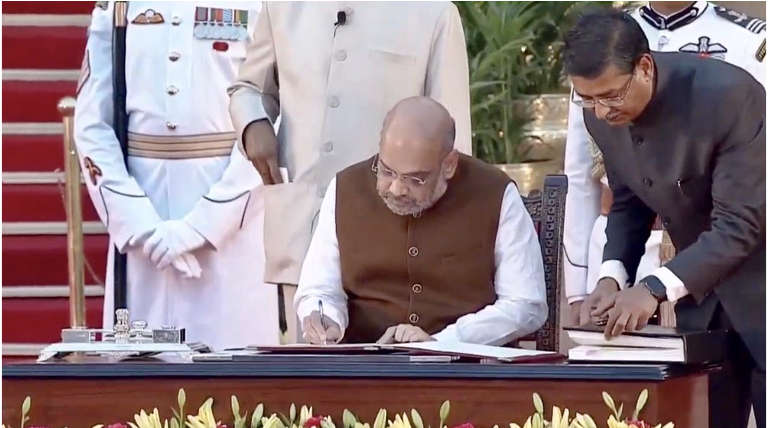 BJP President Amit Shah taking Oath in Swearing-in Function.