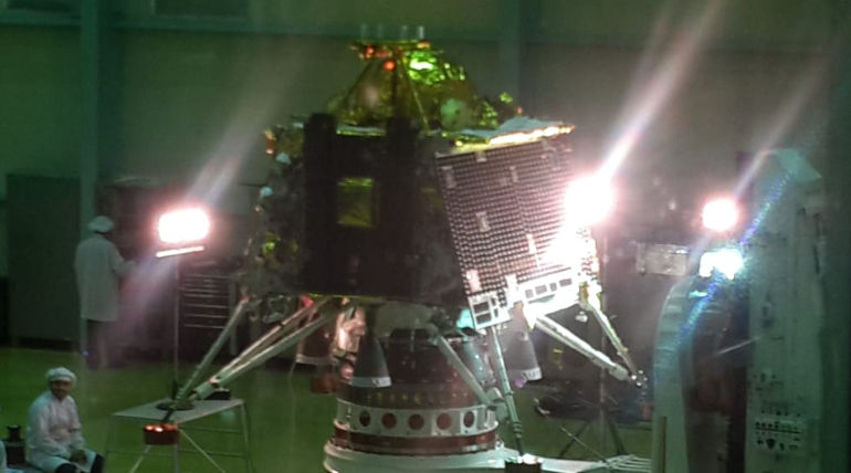 Chandrayaan-2 the lander and orbiter at @ISRO Satellite Integration and Testing Establishment