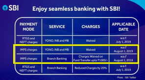 State Bank of India: No Transaction Charges on IMPS Transfer from August 1st 2019