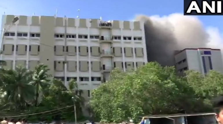 Mumbai MTNL Building Burning with People Trapped on Terrace, Image Source: ANI