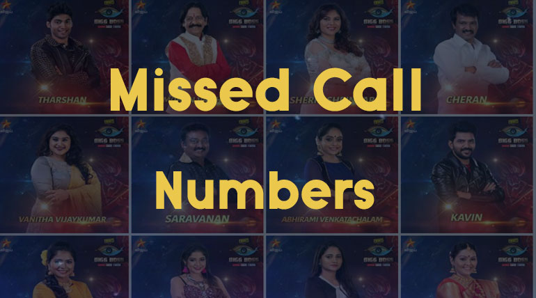 Bigg Boss Tamil Season 3 Vote Contestants Missed Call Numbers. Image Credit Vijay Television Hotstar