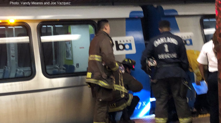 The person survived after being hit by BART train in Oakland. Photo: Vandy Meares and Joe Vazquez