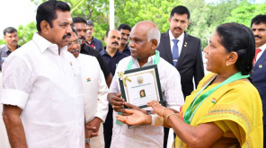 Tamil Nadu CM gives overly Bravery Award to Nellai couple Shanmugavelu and Senthamarai