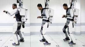 Mind-controlled Exoskeleton - paralysis walk. Photo Clinatec