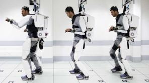 Mind-controlled Exoskeleton - paralysis walk. Photo Clinatec