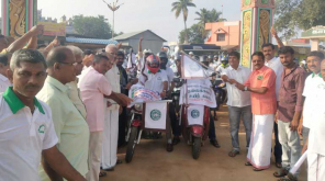 Youths Conduct Rally to Support Wearing Helmet and Kavalan SOS App in Coimbatore