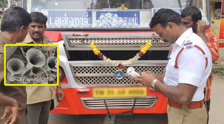 Coimbatore City Traffic Police in Action of Removing Pressure Horn. Photo: CCP