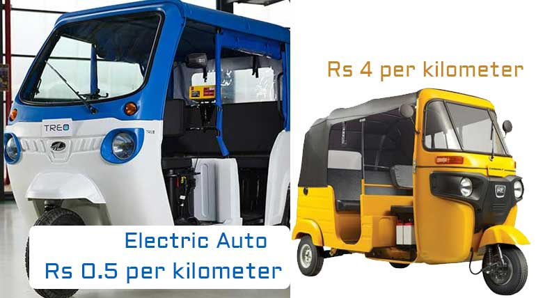 Electric Auto Rickshaw and Petrol Auto Operating Cost in 2023