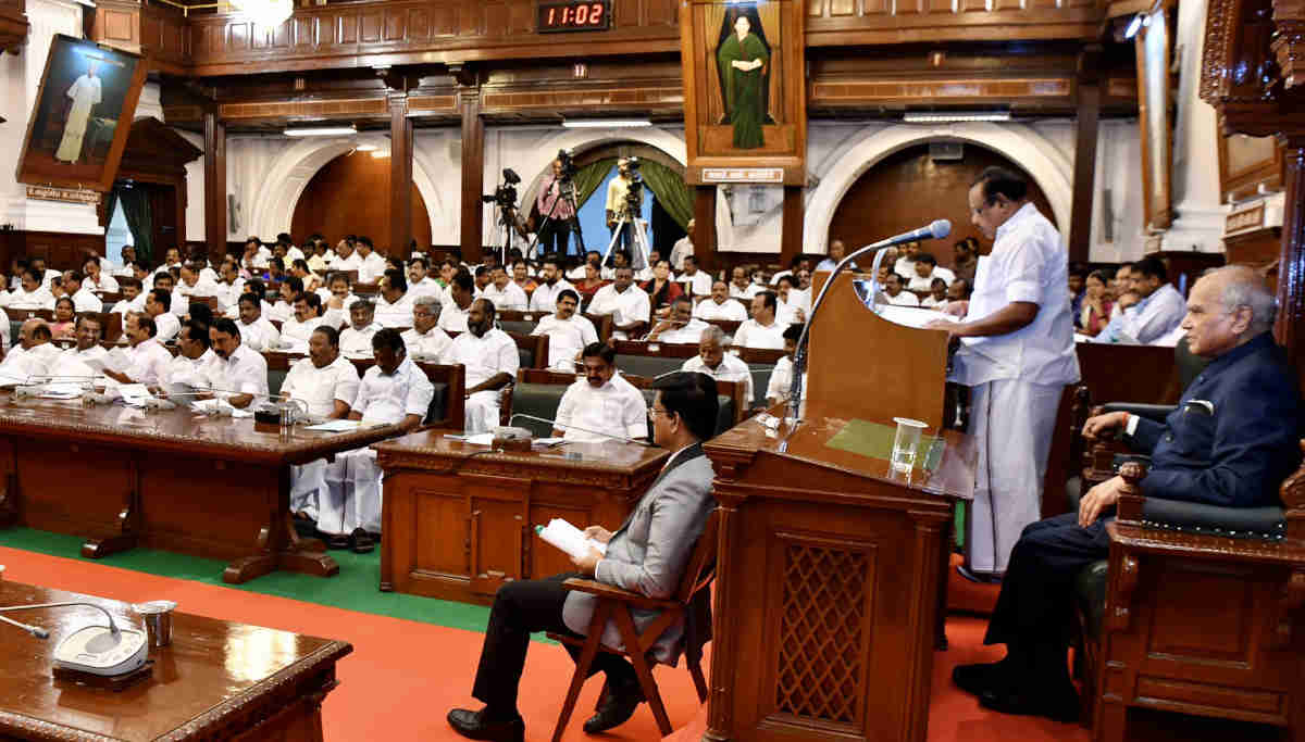 Speaker P Dhanapal addressing the TN Assembly
