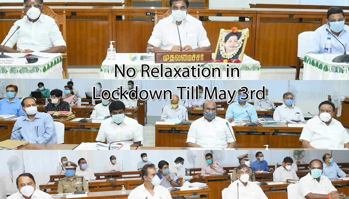 Tamil Nadu No Relaxation in Lockdown Till May 3