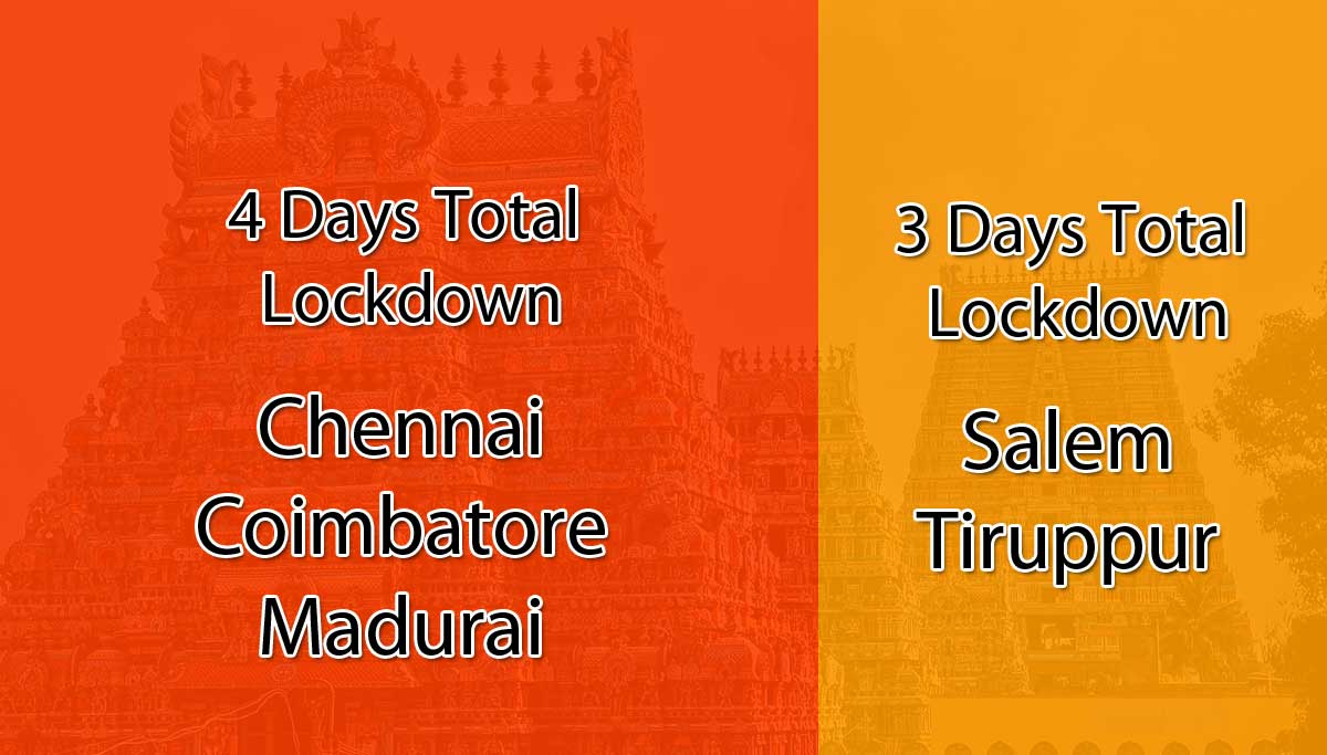 Tamil Nadu Covdi19: 4 Days Full Lockdown in Chennai, Coimbatore and Madurai