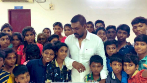 Raghava Lawrence with his orphanage kids.