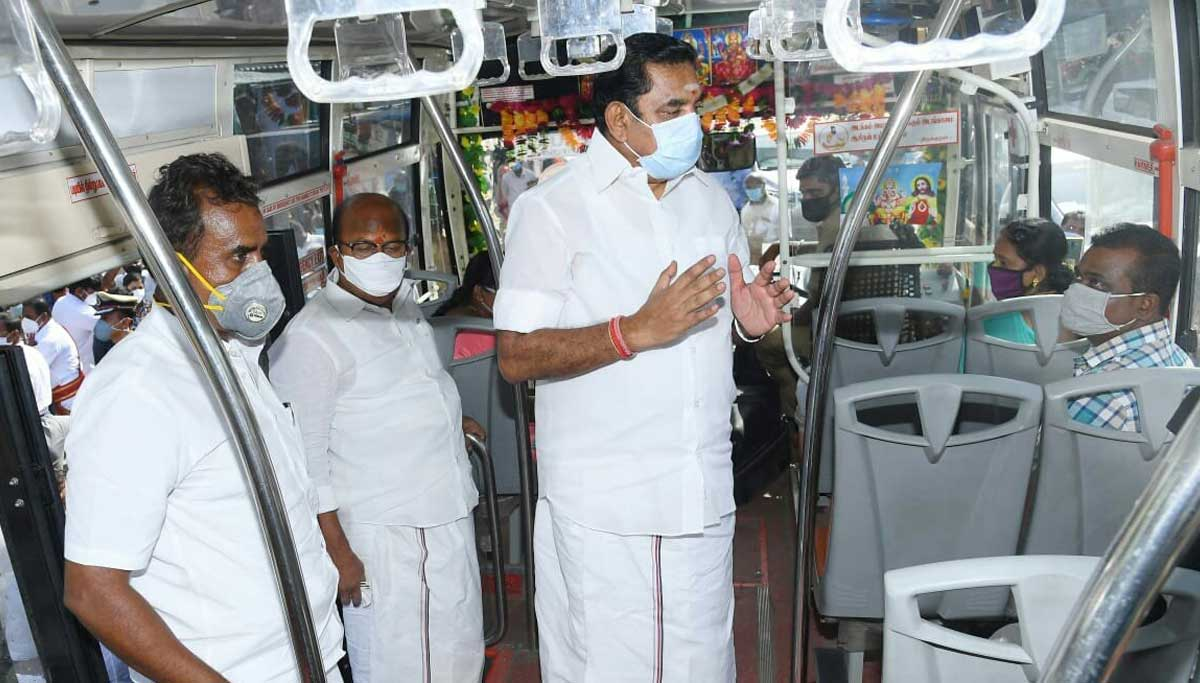 CM Edappadi Palanisami and Minister Velumani in Govt bus explaining Corona precautions