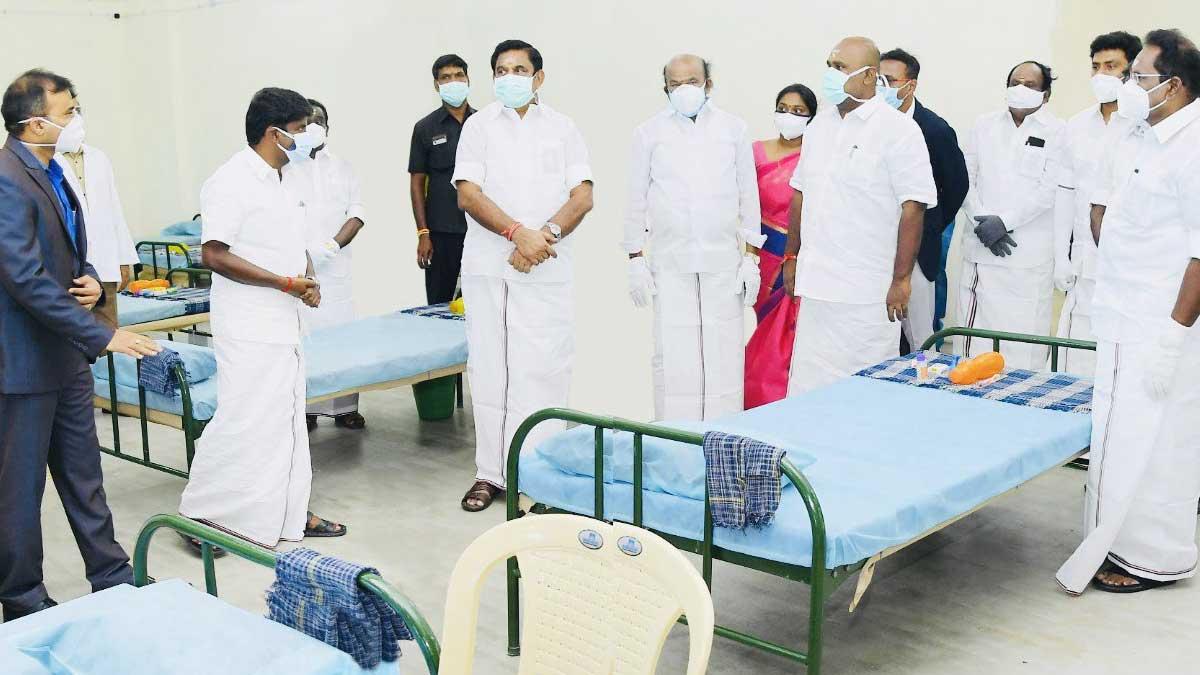 CM added 900 new beds in Madurai covid care center. Minister Vijayabaskar, Sellur Raja, Udhayakumar and MP Ravindranath