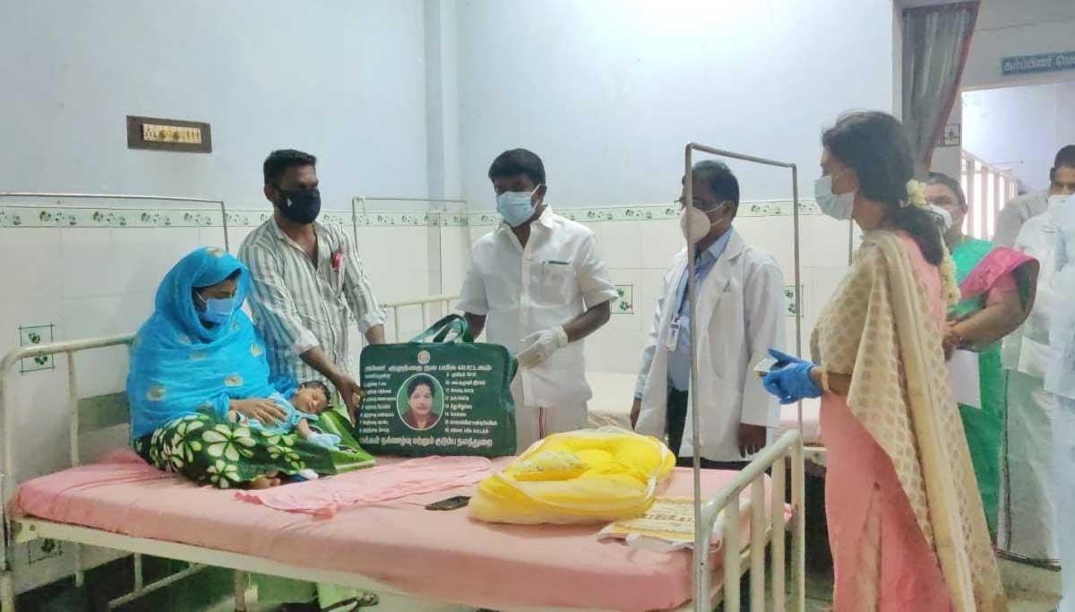 Health Minister offers Amma baby care kit Pudukkottai Govt Hospital