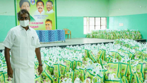 Minister SP Velumani provides Corona relief products to Covai containment zone people