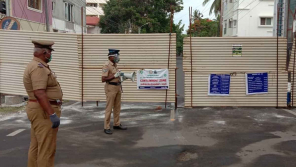 Police officers instructing covid19 Containment zone people in Coimbatore