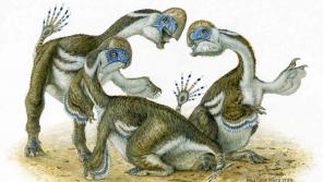 Artist's impression of Oksoko avarsan dinosaurs. (Michael Skrepnick)