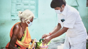 Health Minister C Vijayabaskar distributing rations to the needy people on World food day.