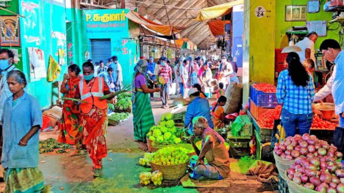 An inside view of Koyambedu vegetable market.