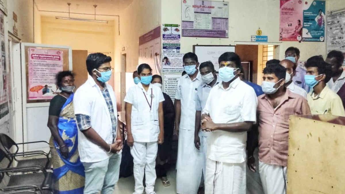 Health Minister C Vijaya Baskar Visiting the Primary Health Center at Rasanayakanpatti