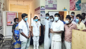 Health Minister C Vijaya Baskar Visiting the Primary Health Center at Rasanayakanpatti