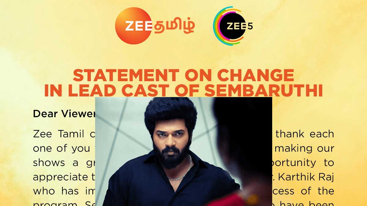 Sembaruthi Tamil Serial Actor Karthik Relieved from Zee Tamil Show