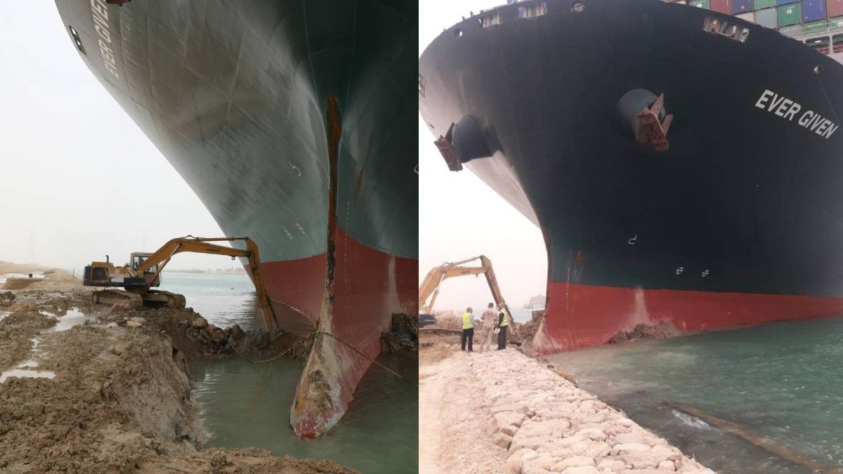 The process of digging the Suez Canal to clear the blockage.
