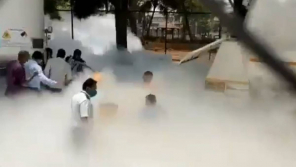 White fumes that aroused after the leakage of Oxygen tank