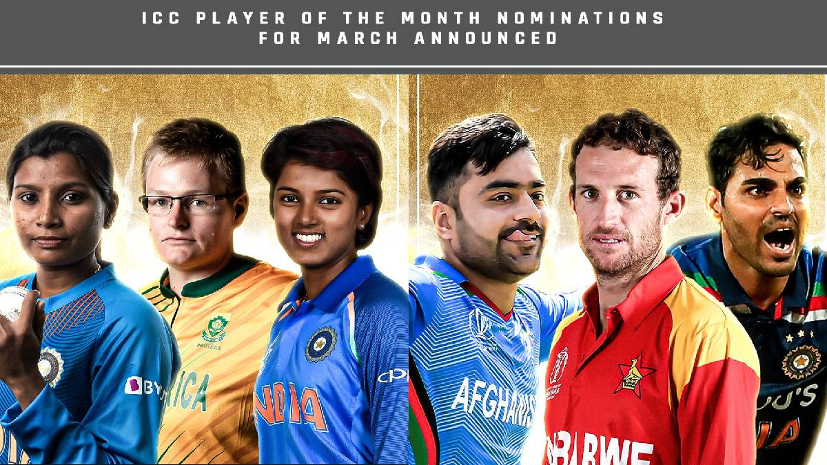 ICC announced the nominations for the month of March