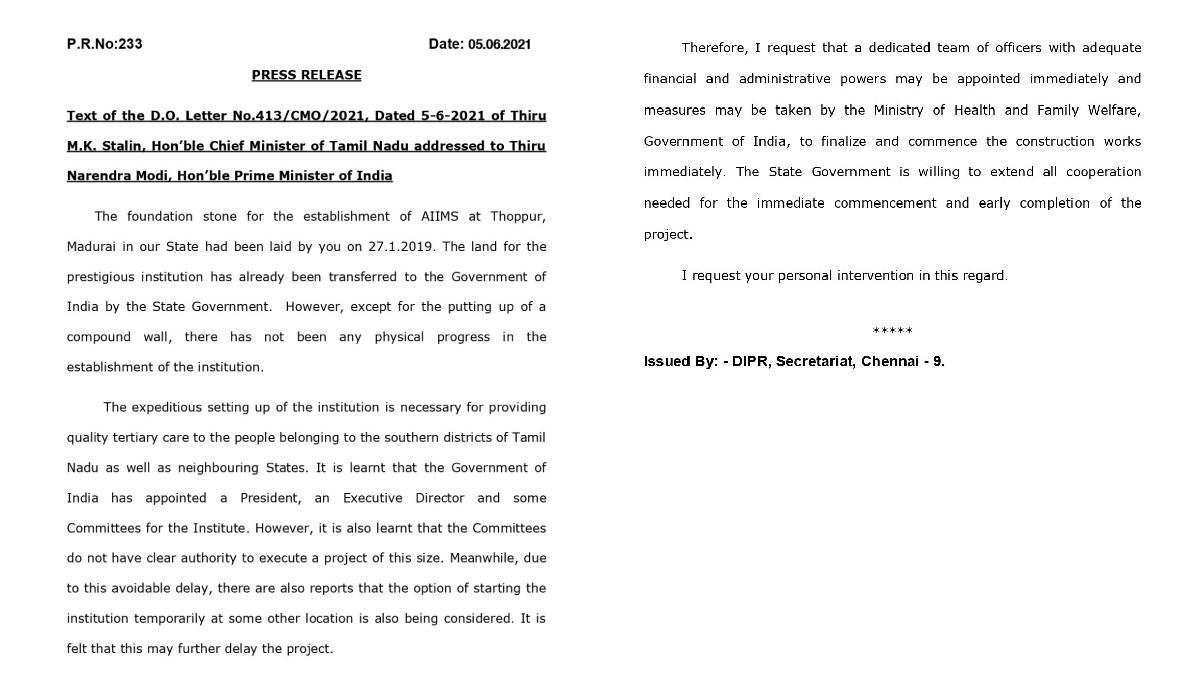 CM Stalin letter to PM Modi on AIIMS Madurai
