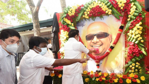 CM Stalin paid homage to Karunanidhi portrait at the Gopalapuram home where Kaunanidhi lived